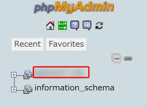 作成したMySQLデータベース名を選択しクリックします。